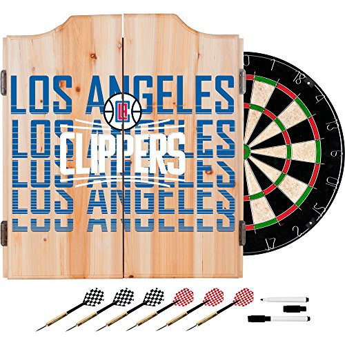 Trademark Gameroom NBA7010-LAC3 NBA Dart Cabinet Set with Darts & Board - City - Los Angeles Clippers by Trademark Global