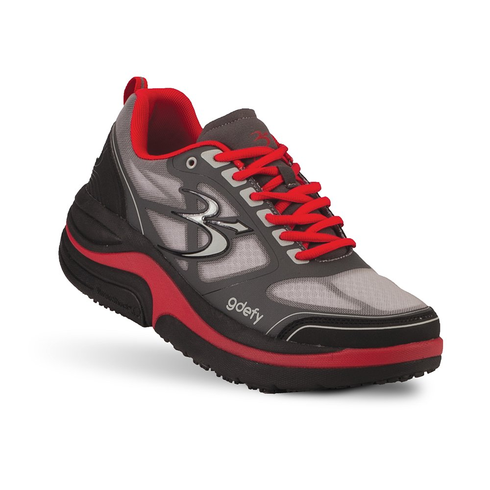 Gravity Defyer Men's G-Defy Ion Clinically Proven Pain Relief Shoes - Great for Plantar Fasciitis 11 XW US|Gray, Red