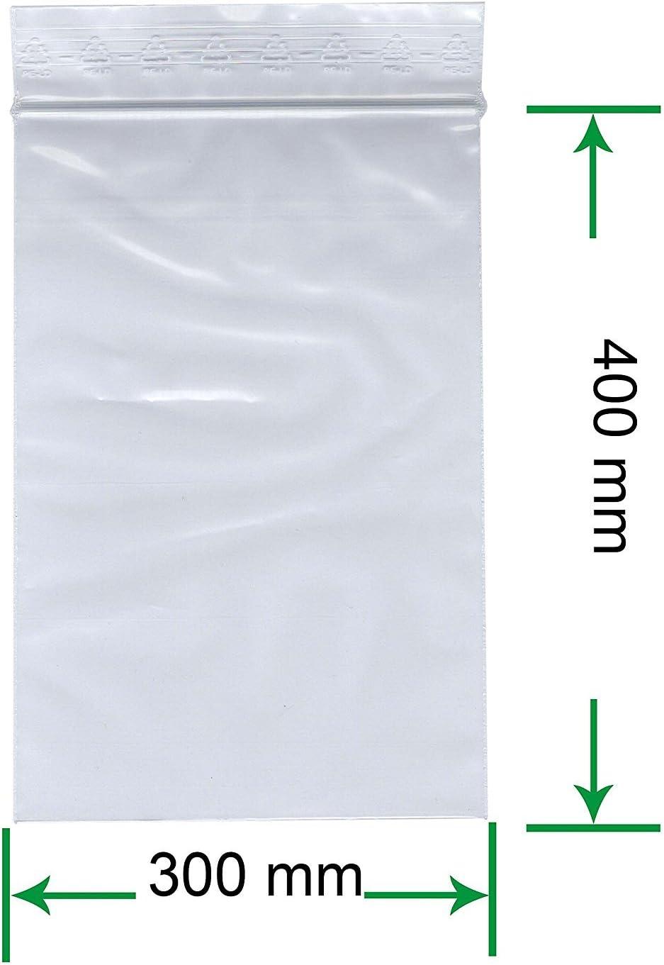 90 m/µ//MY Unbedruckt HeiZip 500 x Druckverschlussbeutel 400 x 600 mm Transparent Lebensmittelecht Wiederverschliessbar extra stark