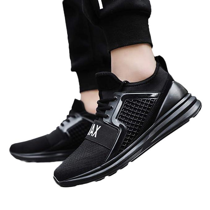 JiaMeng Zapatillas Deportivas para Correr Usar Zapatillas de Deporte de Color sólido para Hombres Atlético Moda Casual Al Aire Libre Corriendo Respirable ...