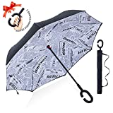ZOMAKE Double Layer Inverted Umbrella Cars Reverse Umbrella, UV Protection Windproof Large Straight Umbrella for Car Rain Outdoor with C-Shaped Handle