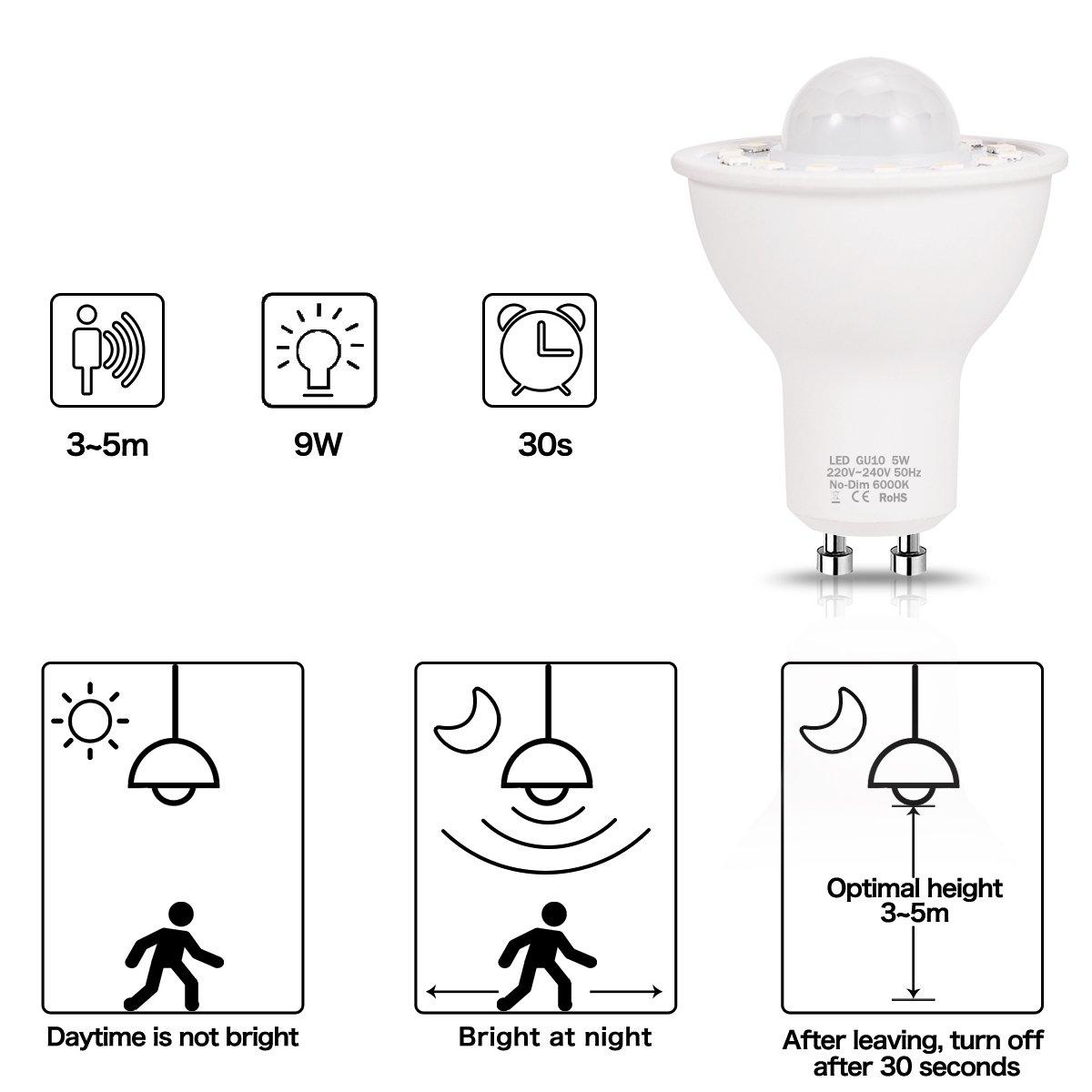 (2 Pack) LOHAS GU10 5W LED, Sensor de Movimiento de la Bombilla, Luces de Noche de Infrarrojos de la Lámpara del Sensor, Equivalente 50W Incandescente, ...