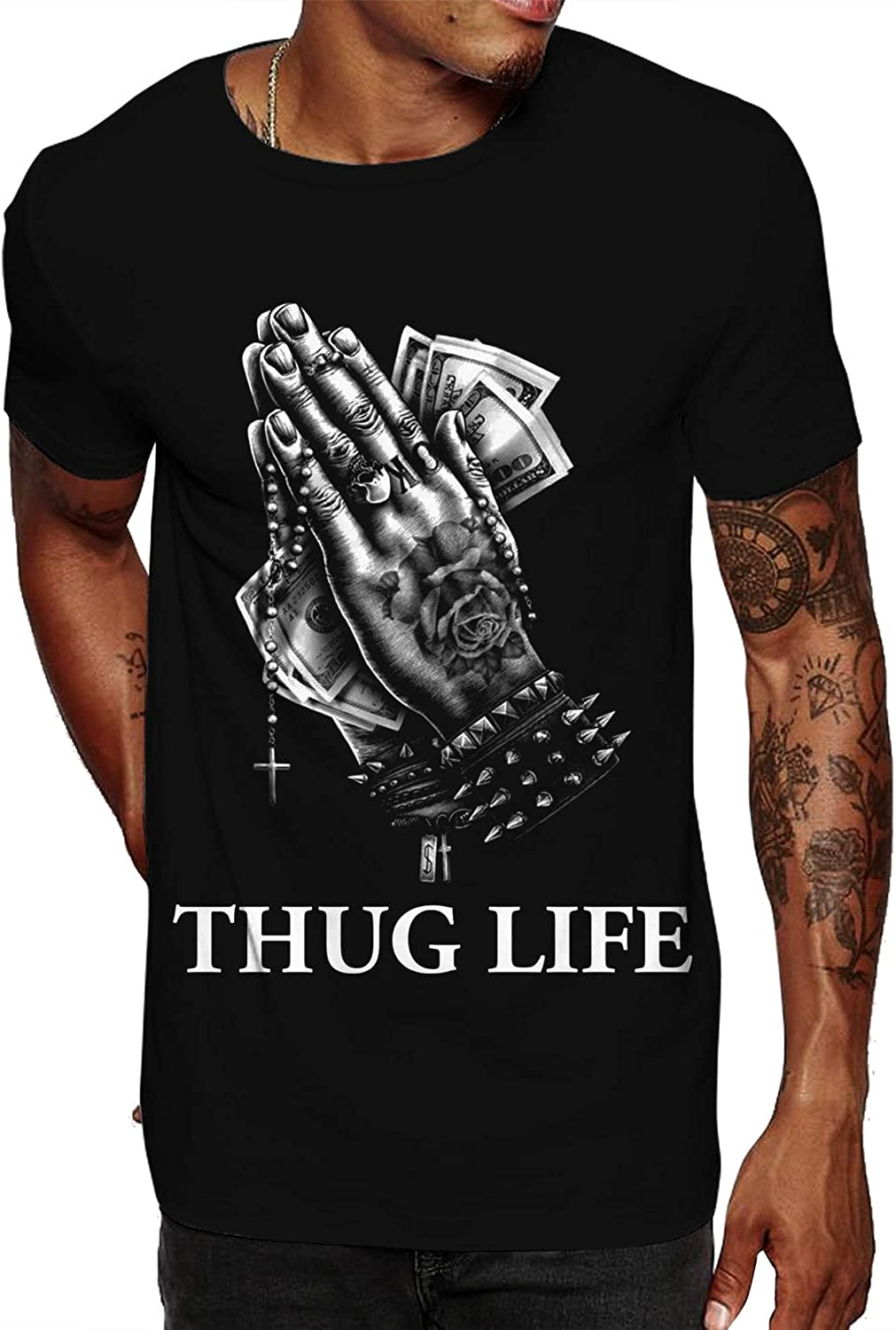 Swag Point 100% Cotton Streetwear Monkey Print Graphic T Shirts