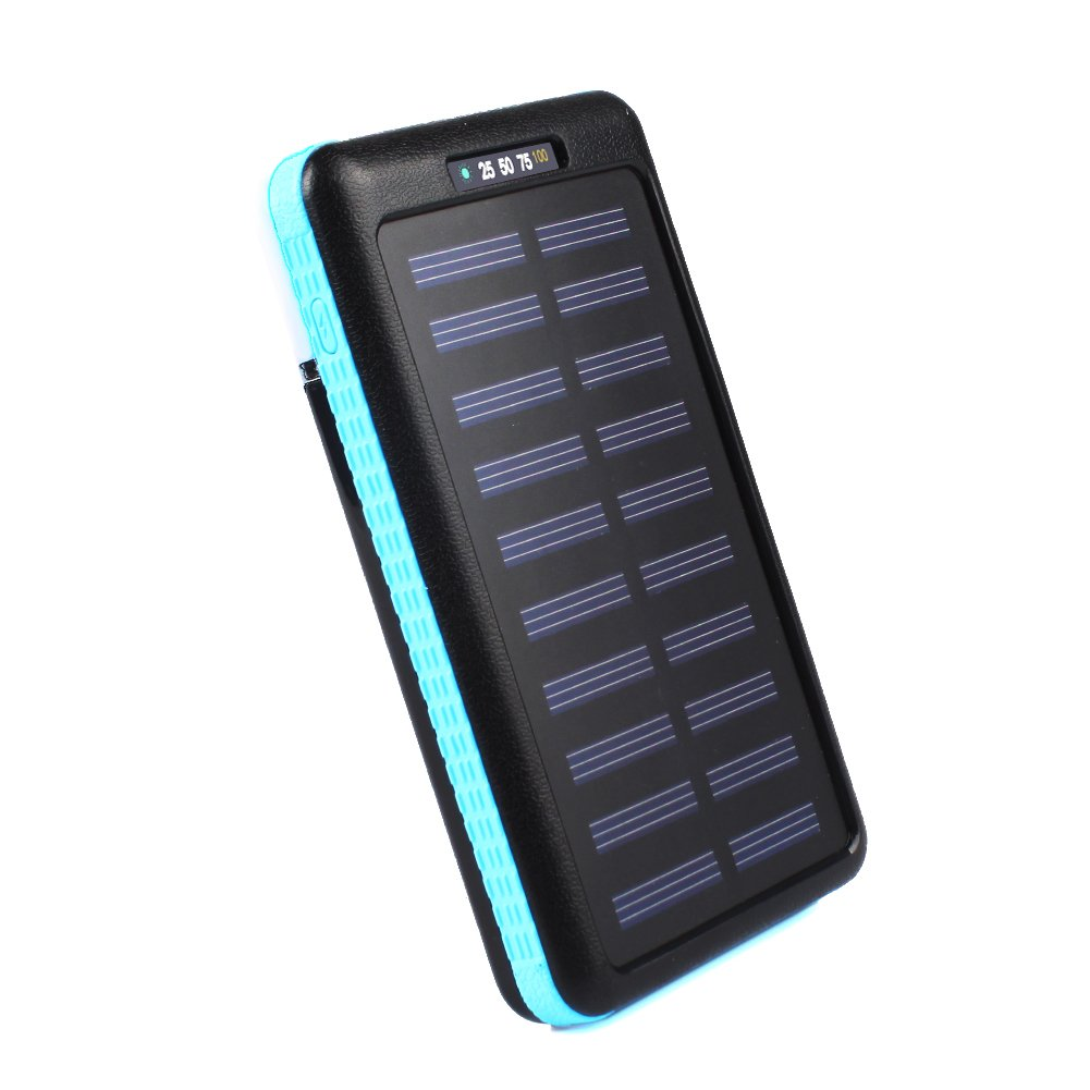 Eachbid Solar Charger Battery Portable 12000mAh Solar Battery Charger Waterproof, Dual USB output Solar Powered Phone Charger for iPhone, iPod, iPad, Samsung, HTC, GPS Camera Blue