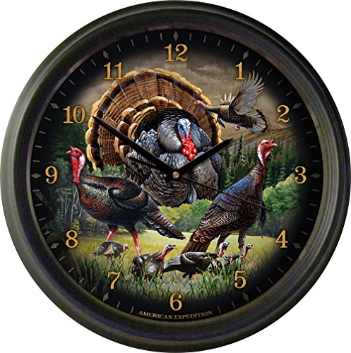 American Expedition WCLK-330 16 in. Wild Turkey Collage Wall Clock