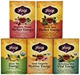 Yogi Tea Favorites - Perfect Energy 5 Flavor Variety Pack - 16 Tea Bags Each Box (Pack of 5)