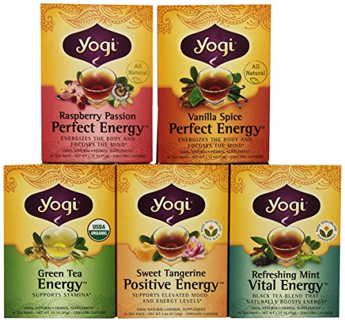 Yogi Tea Favorites - Perfect Energy 5 Flavor Variety Pack - 16 Tea Bags Each Box (Pack of 5)