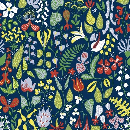Boråstapeter WV2744 Navy Floral Motif Wallpaper