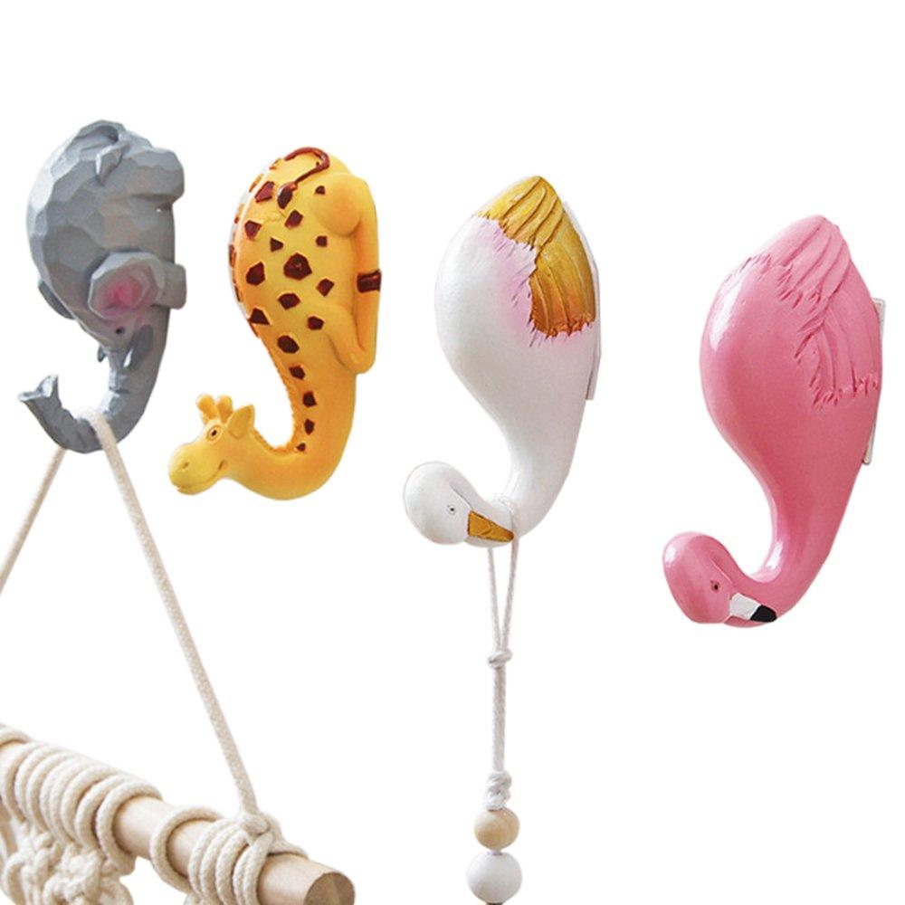 Vpang 4 Pcs Creative Resin Animal Hooks Giraffe Elephant Swan Flamingo Adhesive Hooks Wall Hooks Sticky Hanger