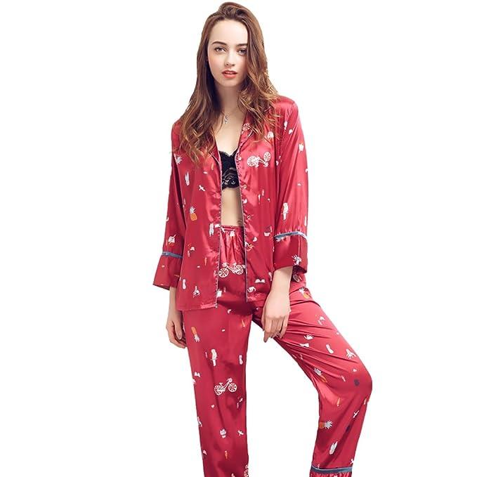 2018 Ladies Set de pijama de satén suave estampado de manga larga Vintage Casual Loungewear ropa