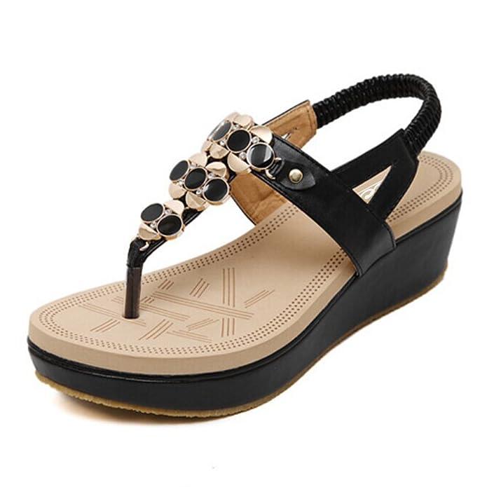 SIKETU Mädchen Damen Sandalen mit Zehensteg, Keilabsatz und Strasssteinen, Boho-Stil, Schwarz - Schwarz - Größe: 39 EU (Asien 40)