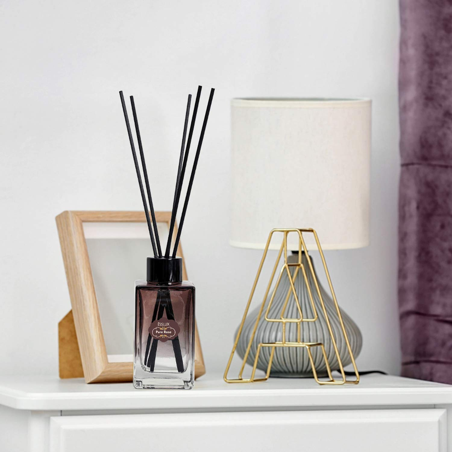 ESSLUX Scent Diffuser, Room Reed Diffuser Premium Quality for Home and Office, Air Freshener & Home Decor & Ideal Gift-Pure Rose by ESSLUX (Image #3)