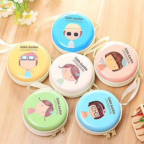 Set of 6 Cartoon Cute Coin Purse Holder Key Wallet Children Kids Purse Earphone Case Storage Gift