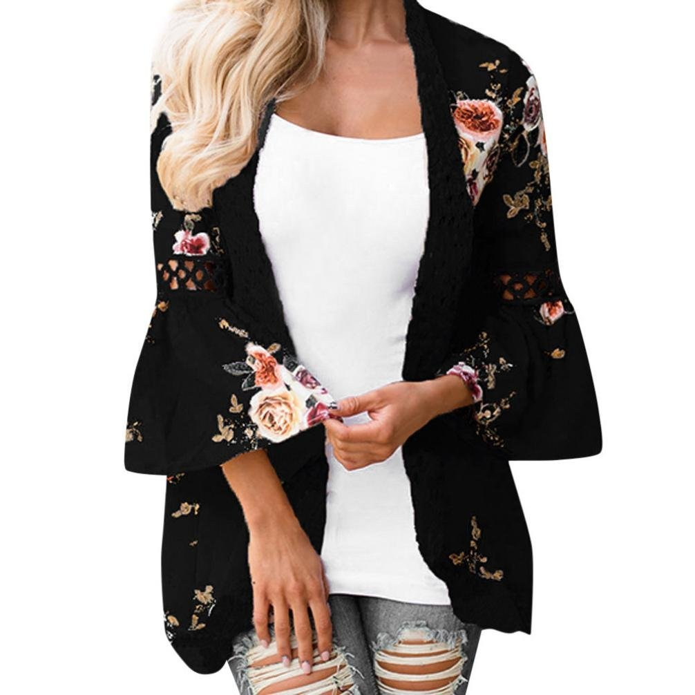 Giacca Casual di Stampato Floreale Chiffon Kimono Boho Cardigan Camicetta Cover Up Maglietta da Donna Giacca Cappotto Manica Lunga Pizzo Cardigan Top feiXIANG Cardigan Donna Elegante