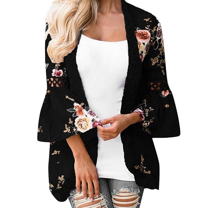 half off 27658 07968 feiXIANG Cardigan Donna Elegante, Giacca Casual di Stampato Floreale  Chiffon Kimono Boho Cardigan Camicetta Cover Up Maglietta da Donna Giacca  ...