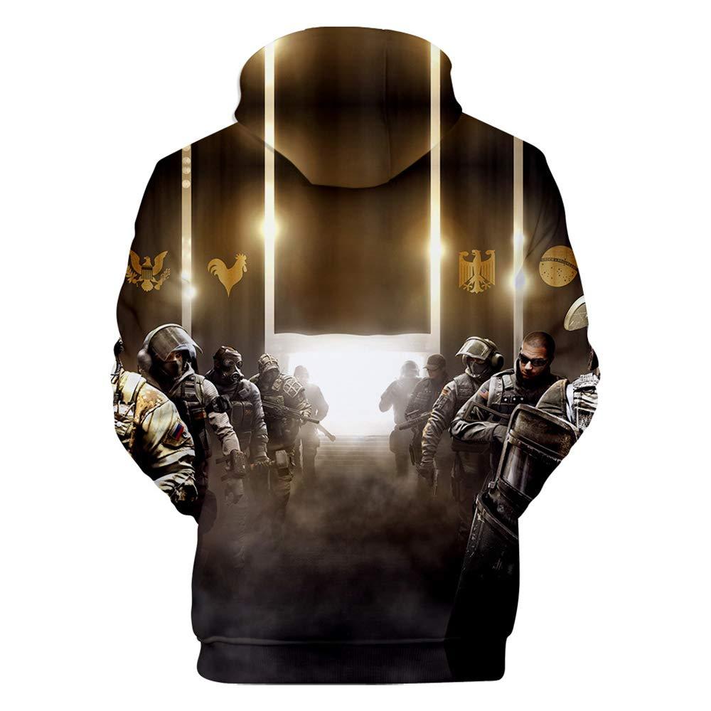 XYQB Herren Rainbow Six:Siege Print Kapuzenpullover Neuheit Pullover Langarm L/ässige Hoodies Top Sweatshirts mit gro/ßen Taschen Jumper