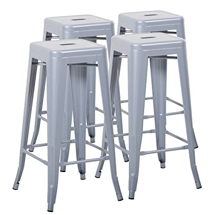 Magnificent Mimo Life Metal Modern Barstool Set Of 4 Backless Indoor Outdoor Stackable Bar Stools With Square Seat 30 Inches High Silver Machost Co Dining Chair Design Ideas Machostcouk