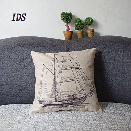 Nautical-Cotton-Linen-Pillow-Cover-Antique-Boat-Cushion-Cover-throw-Pillow-Cover