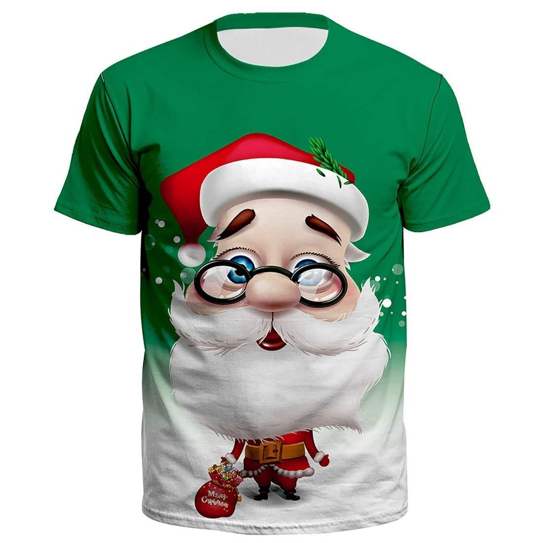 LiShihuan Camiseta de Manga Corta Estampada Santa Claus de Dibujos Animados navideños Unisex