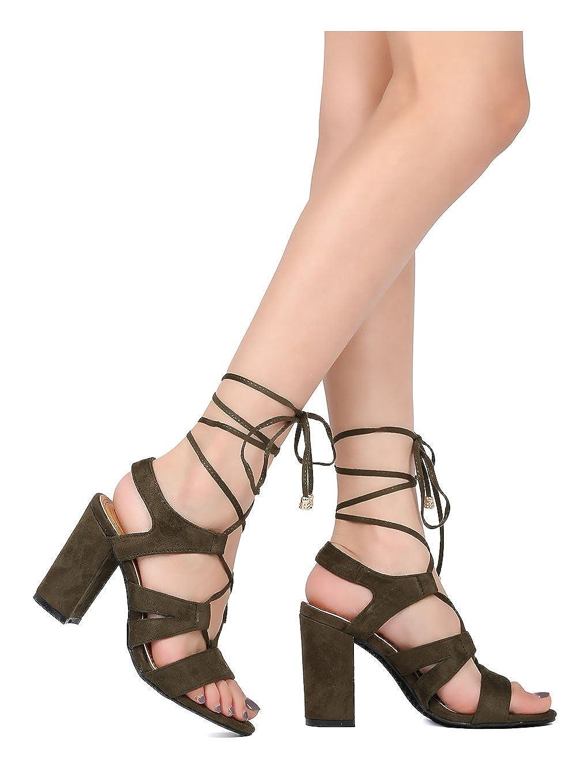 Alrisco Women Faux Suede Open Toe Lace Up Ankle Wrap Block Heel Sandal HB35