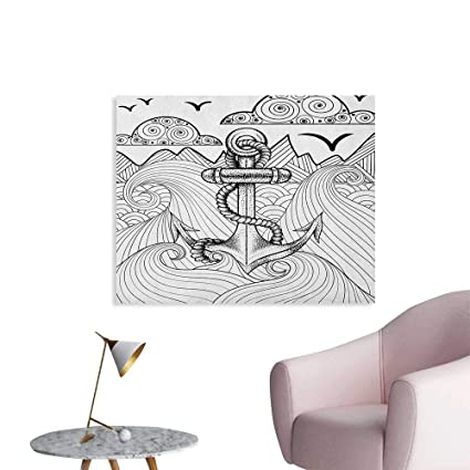 Amazon.com: Anchor Wallpaper Zentangle Style Ocean and Clouds Hand Drawn Artistic Arrangement Marine Theme Poster Print Black and White W28 xL20: Posters & ...