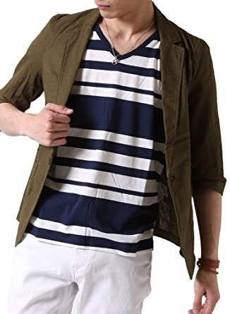 4dd837089decf4 Amazon | (アーケード) ARCADE 春夏 メンズ サマージャケット 綿麻 テーラードジャケット リネン 7分袖 細身 タイト ジャケット  | コート・ジャケット 通販