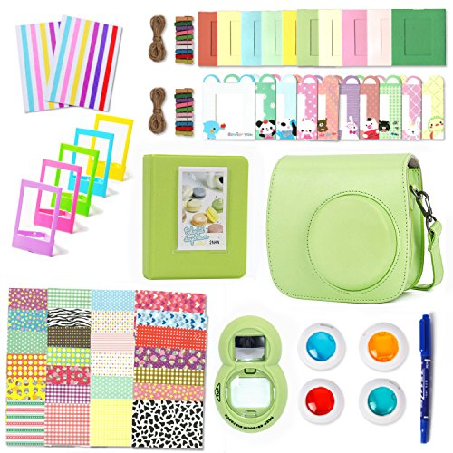 Leebotree Lime Green Camera Accessories Compatible with Fujifilm Instax Mini 9 or Mini 8 8+ Include Case/Album/Selfie Lens/Filters/Wall Hang Frames/Film Frames/Border Stickers/Corner Stickers/Pen