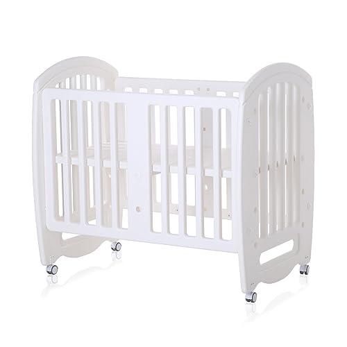 Baby Vivo Lit d'enfant Lit de Bébé Lit à Barreaux écologique et transformable Table 2 positions de multifonctionnel Blanc - 106 x 71 x 98 cm - Sleepy
