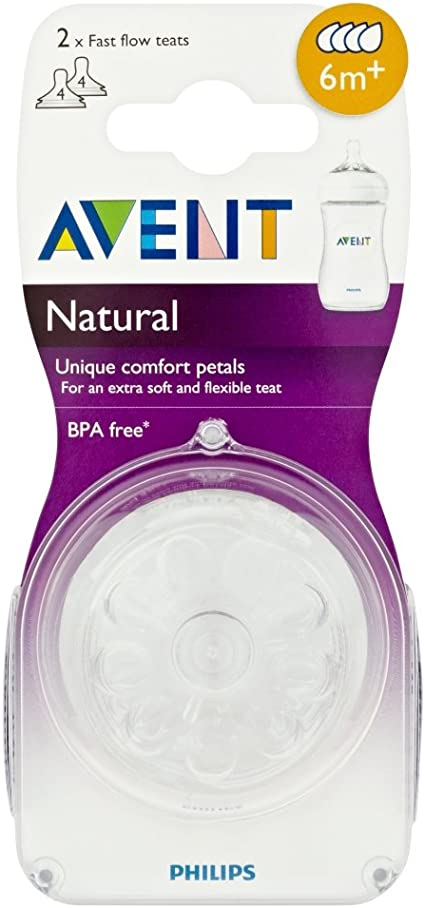 Philips Avent Natural Teat Medium Flow 2Pk Baby Newborn Bottle Teat Vent Fast Slow Flow Philips Avent Natural Classic