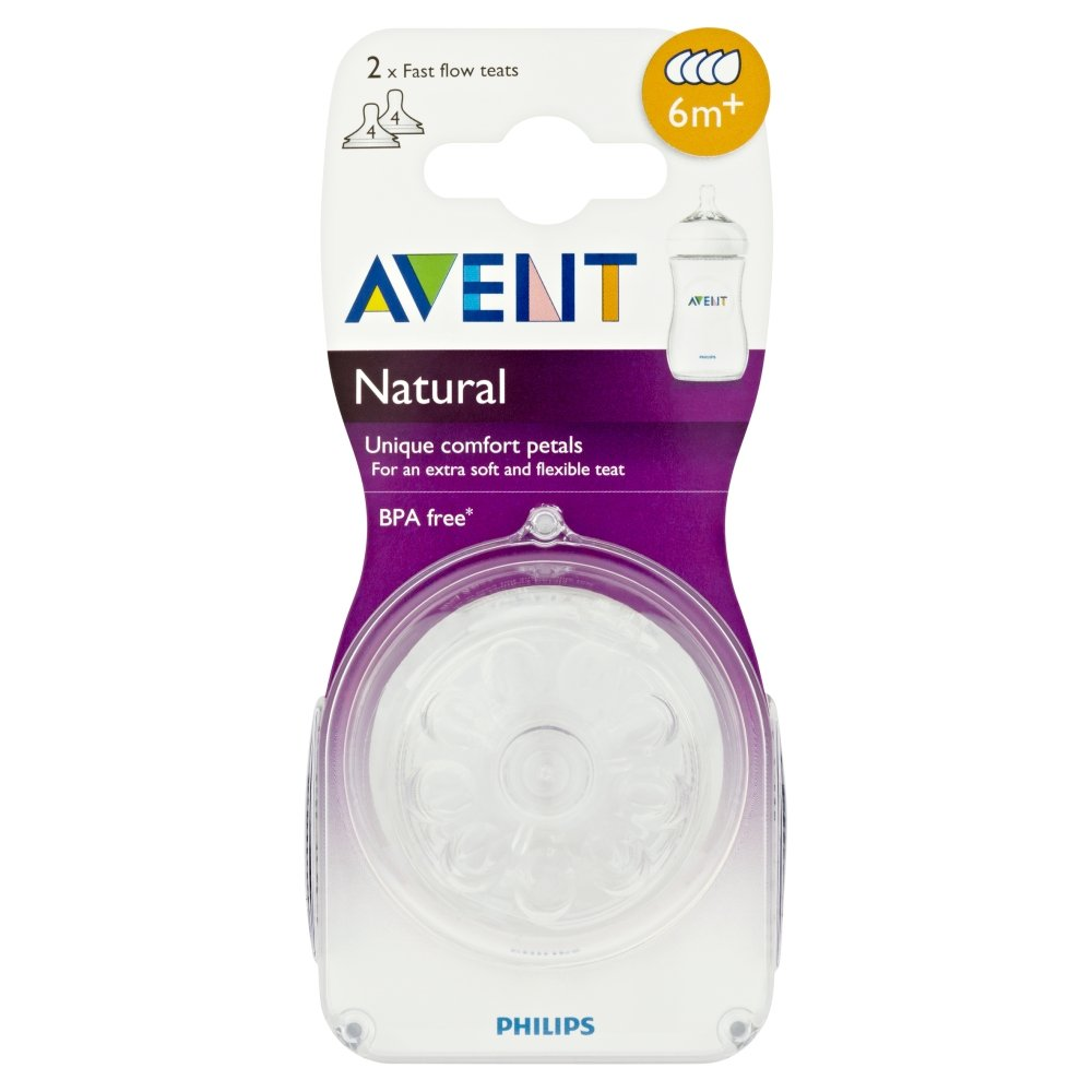 Philips AVENT Natural Teat (Fast Flow) 2pk Grocery SCF654/27