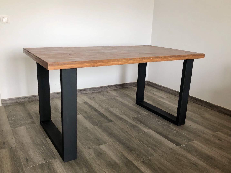 Mesa de comedor de madera y hierro: Amazon.es: Handmade
