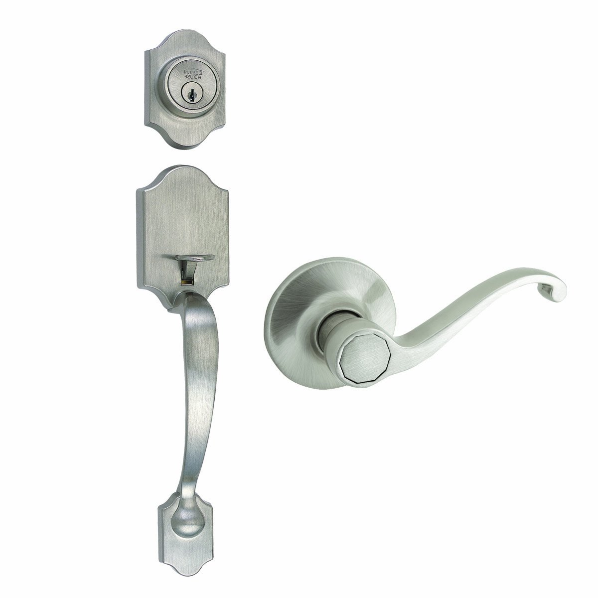 Design House 753772 Sussex 2-Way Adjustable Entry Door Handle Set with Lever, Satin Nickel