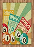 Vintage Area Rug by Ambesonne, Bingo Game with Ball and Cards Pop Art Stylized Lottery Hobby Celebration Theme, Flat Woven Accent Rug for Living Room Bedroom Dining Room, 5.2 x 7.5 FT, Multicolor