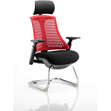 9e7f9fbf3 Dynamic KC0117 Flex Visitor Cantilever Fabric Chair with Arms and Headrest  - Black Red  Amazon.co.uk  Office Products