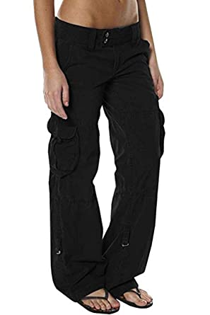 4996947ac1c0d8 HSRKB Womens Casual Cargo Pants Military Pants Jogger Low Waisted Trousers  with Multi-Pockets Black