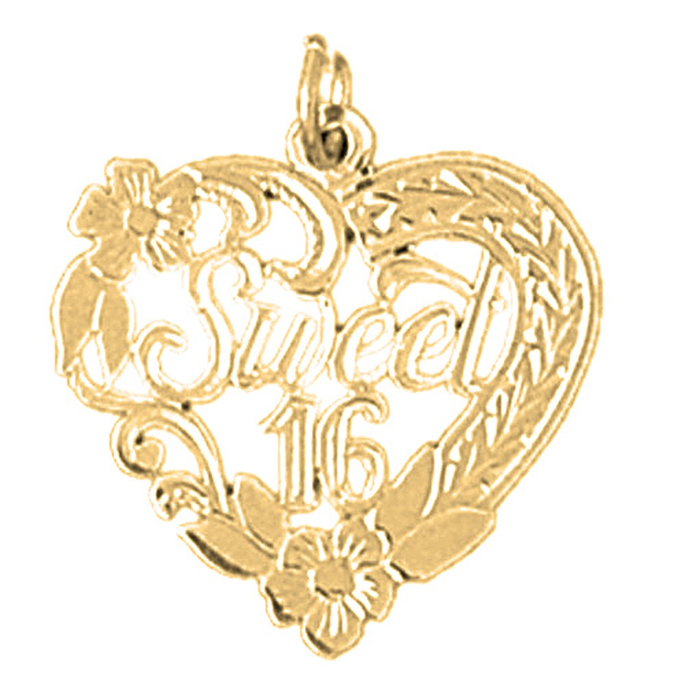 23mm Silver Yellow Plated Sweet 16 Pendant