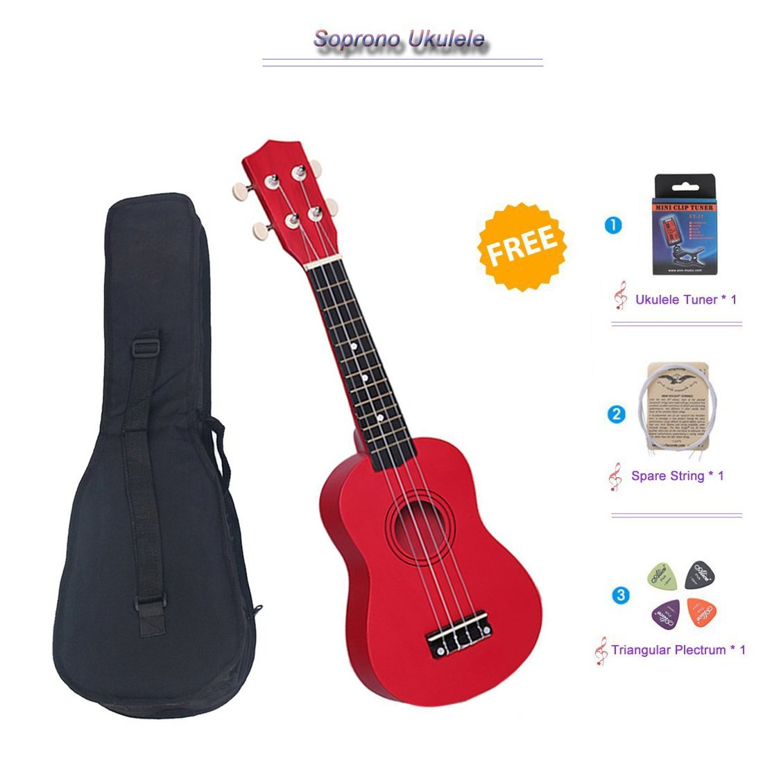 NOT HOME® 21 Soprano Ukulele with a Carrying Bag and a Digital Tuner, Specially Designed for Kids, Students and Beginners XLY XLY-15982