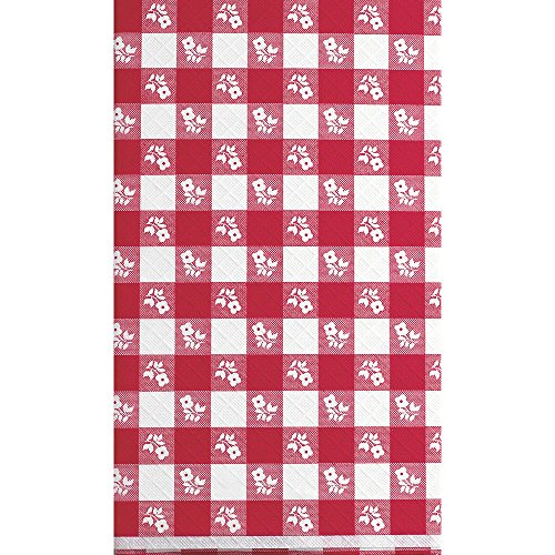 12 Table Covers (Creative Converting 12-Count Red Gingham Stay Put Plastic Banquet Table Covers)