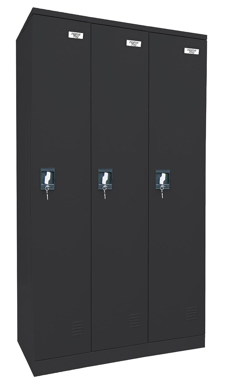 Edsal Sandusky KDCL7236/3-09 Powder Coat Paint Steel SnapIt Full Length Locker, 1829 mm Height x 914 mm Width x 457 mm Depth, 3 Shelves, Black EDSAL SANDUSKY CORPORATION ZHONGSHAN