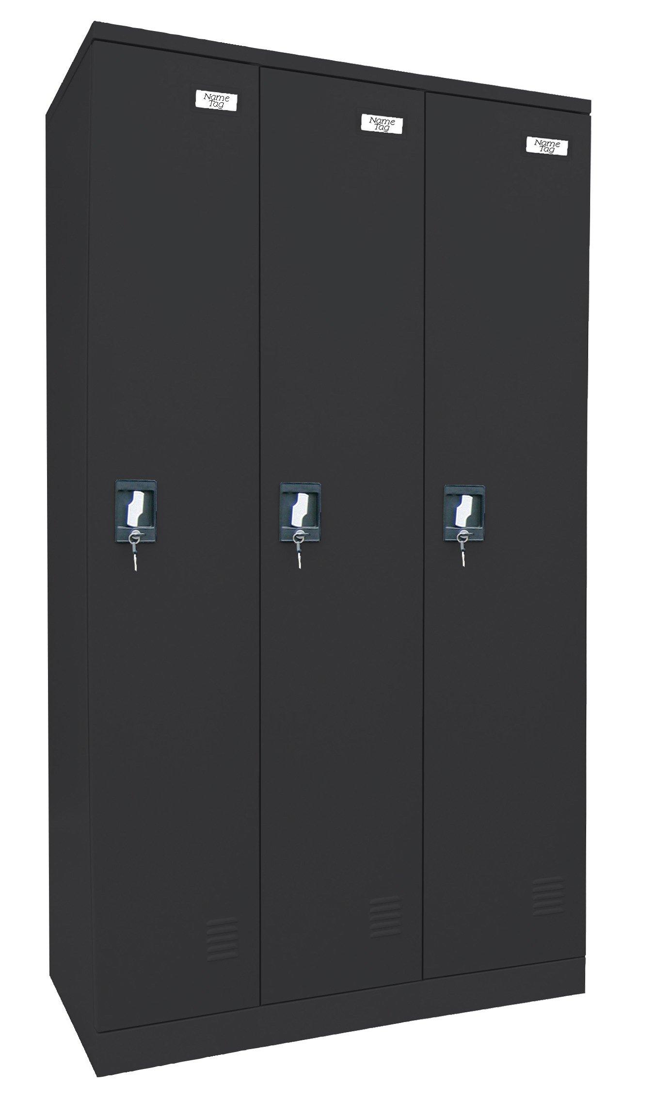 Sandusky Lee KDCL7236/3-09 Black Powder Coat Paint Steel SnapIt Full Length Locker, 72'' Height x 36'' Width x 18'' Depth, 3 Shelves