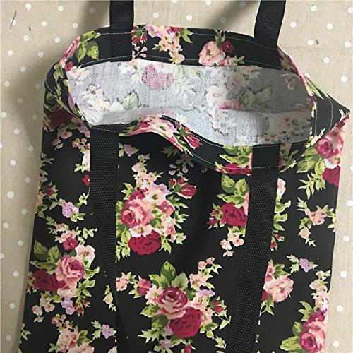 Yile Thin canvas Eco shopping Tote borsa a tracolla stampa rose fiore base nera L302
