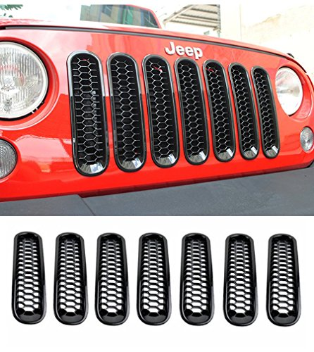 E-cowlboy 2016 Black Honeycomb Trim Grill Grille Cover Insert Mesh Frame for Jeep Wrangler JK & Unlimited 2007-2016 - 7 Pieces Kit
