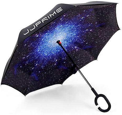 Paraguas cortavientos, invertido, plegable, de doble capa auxiliar, asa estable-Protección contra la lluvia, la nieve, los rayos UV solares; paraguas con asa de manos libres en forma de C.Blue Galaxy: Amazon.es: Deportes