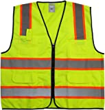 """GripGlo TLS-432 Amazing High Visibility Reflective Safety Vest With 6 Multi-Functional Pockets Neon Lime Zipper Front, 2"""" Reflective Strips With ORANGE TRIM For MAXIMUM VISIBILITY - Meets ANSI/ISEA 107-2010 - Class 2/Level 2 - Large"""