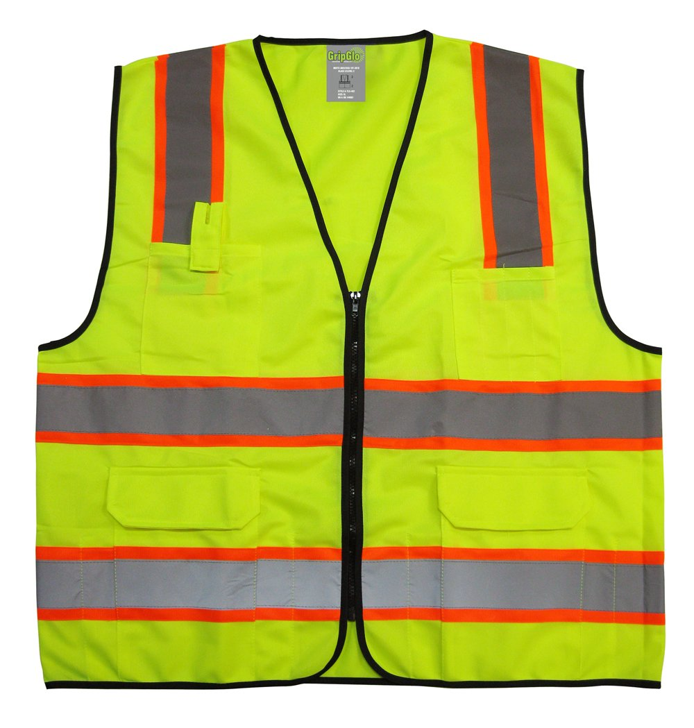 GripGlo TLS-432 Amazing High Visibility Reflective Safety Vest With 6 Multi-Functional Pockets Neon Lime Zipper Front, 2'' Reflective Strips With ORANGE TRIM For MAXIMUM VISIBILITY - Meets ANSI/ISEA 107-2010 - Class 2/Level 2 - Large by GripGlo™ (Image #1)