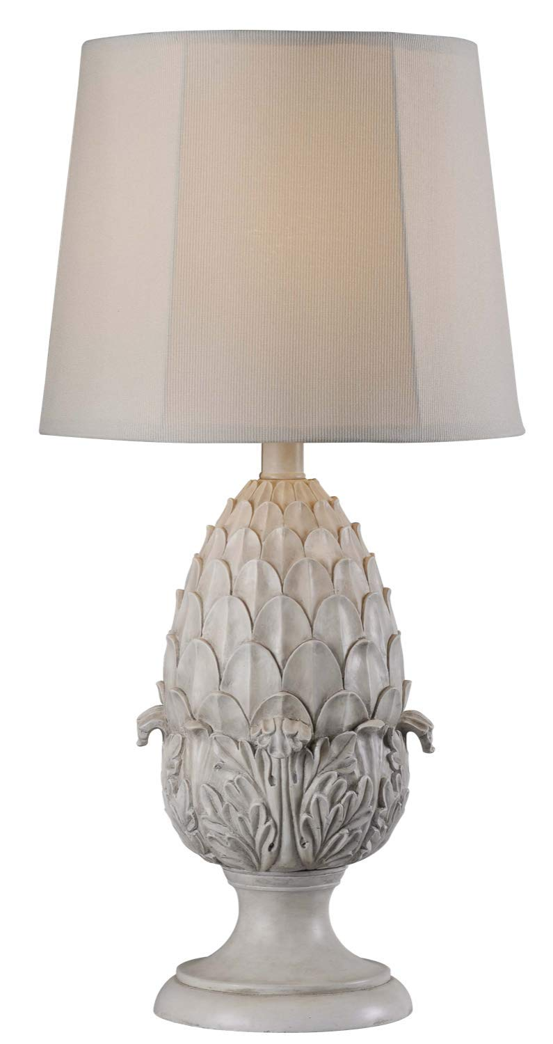 "Kenroy Home 32487RW Artichoke Outdoor Table Lamp, Roman White Finish, 30"" x 15"" x 15"""
