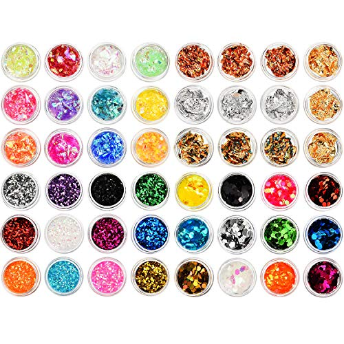 - BBTO 48 Sets Nail Chunky Glitter Sequins Foil Nail Chips Ice Mylar Shell Foil Slice Mixed Nail Art Decorations