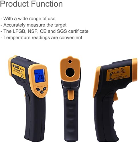 KT THERMO Infrared Thermometer Non-Contact Digital Laser Temperature Gun Bright LCD Display with Backlight, Measuring Range-58 to 716 -50 to 380