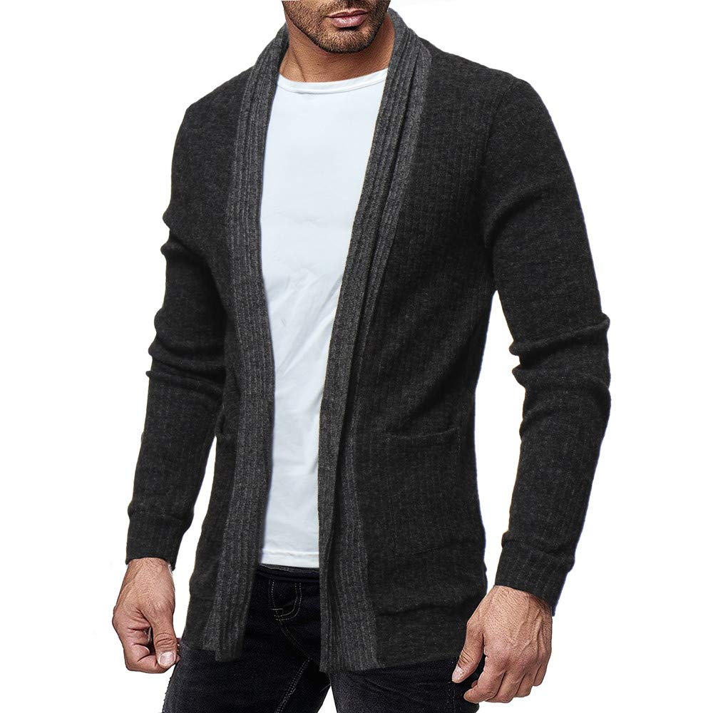 GOVOW Cotton Sweater for men Fashion Solid Cardigan Sweatshirts Casual Slim Fit Jacket Coat(M,Black)