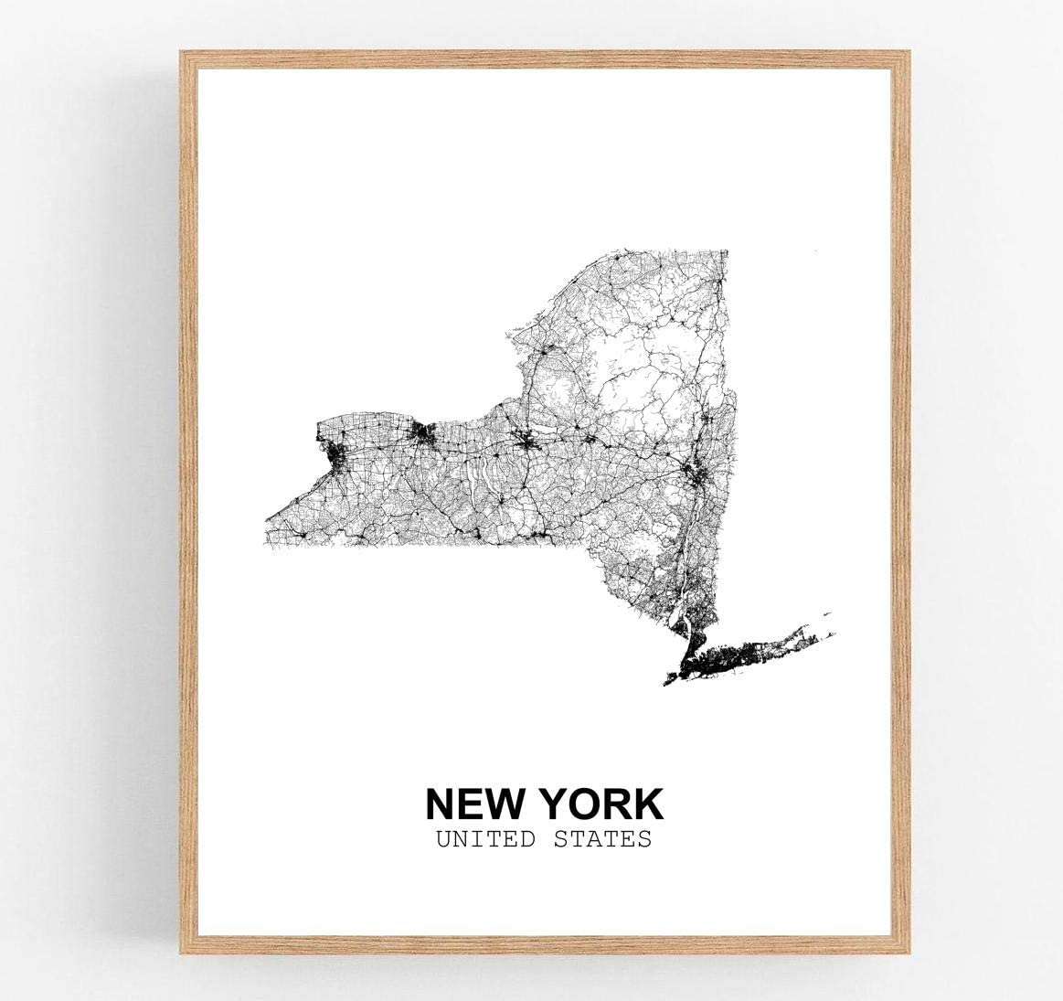 Eleville 8X10 Unframed New York United States Country View Abstract Road Modern Map Art Print Poster Wall Office Home Decor Minimalist Line Art Hometown Housewarming wgn188
